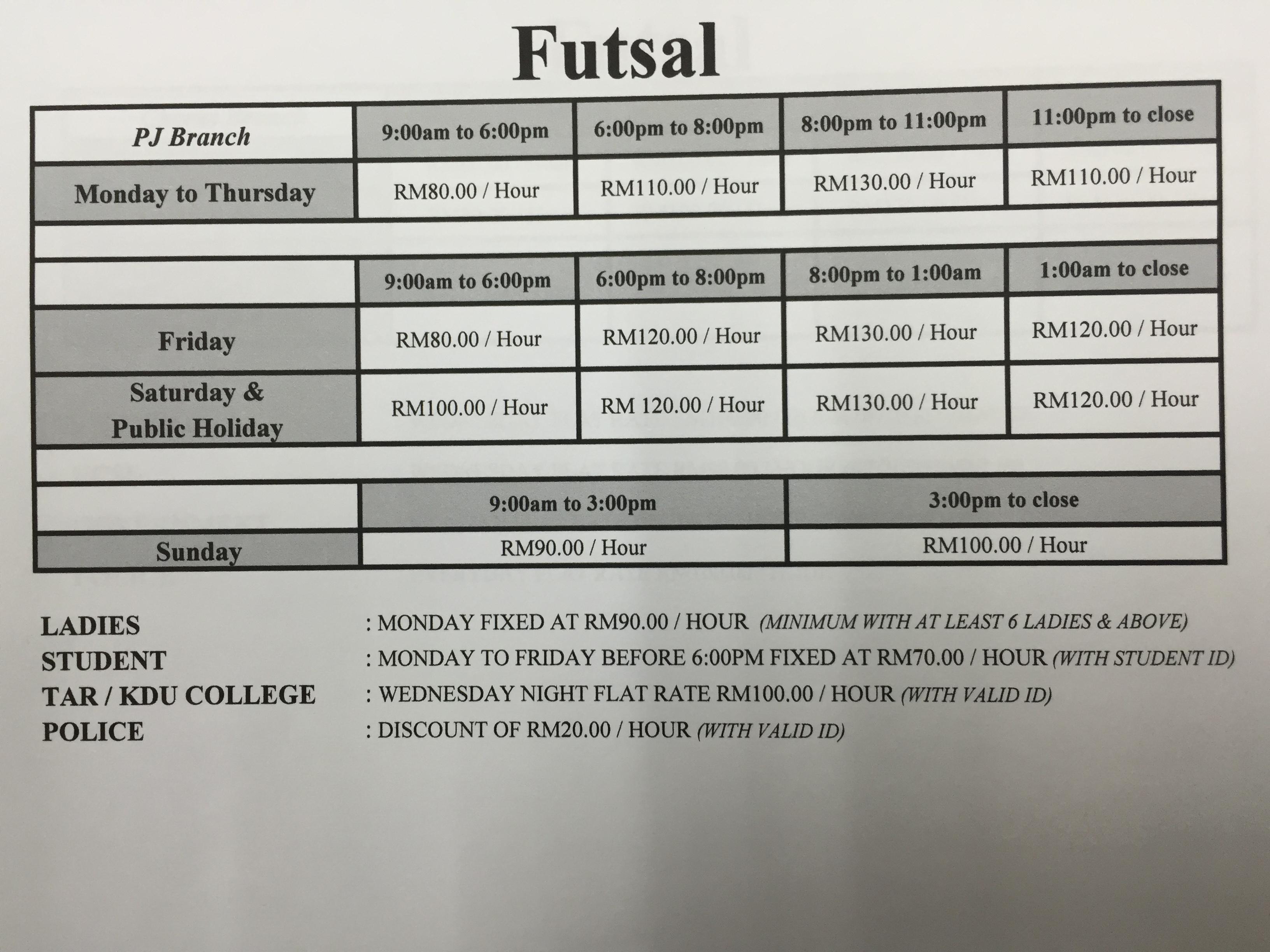 Futsal Rate Time Table